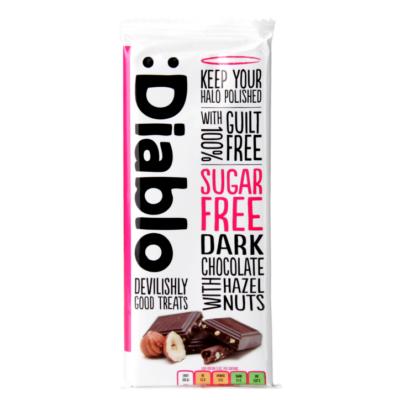Diablo Sugar Free Dark Chocolate With Hazelnuts (cukormentes mogyorós étcsokoládé) 85 g