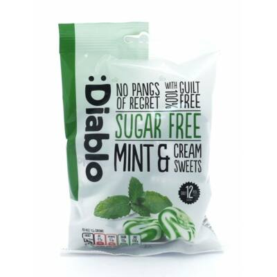 Diablo Sugar Free Mint & Cream Sweets (menta-krémes cukormentes cukorka) 75 g