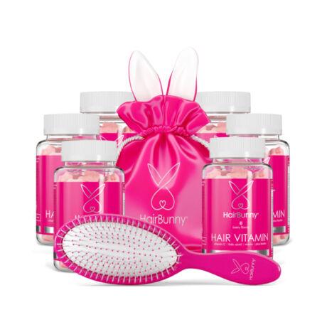 HairBunny rágható hajvitamin 360db (6 havi adag) AJÁNDÉK hajkefével és luxus kozmetikai táskával