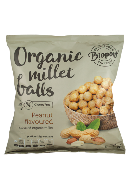 BIOPont - mogyorós ízesítésű kölesgolyók 75 g